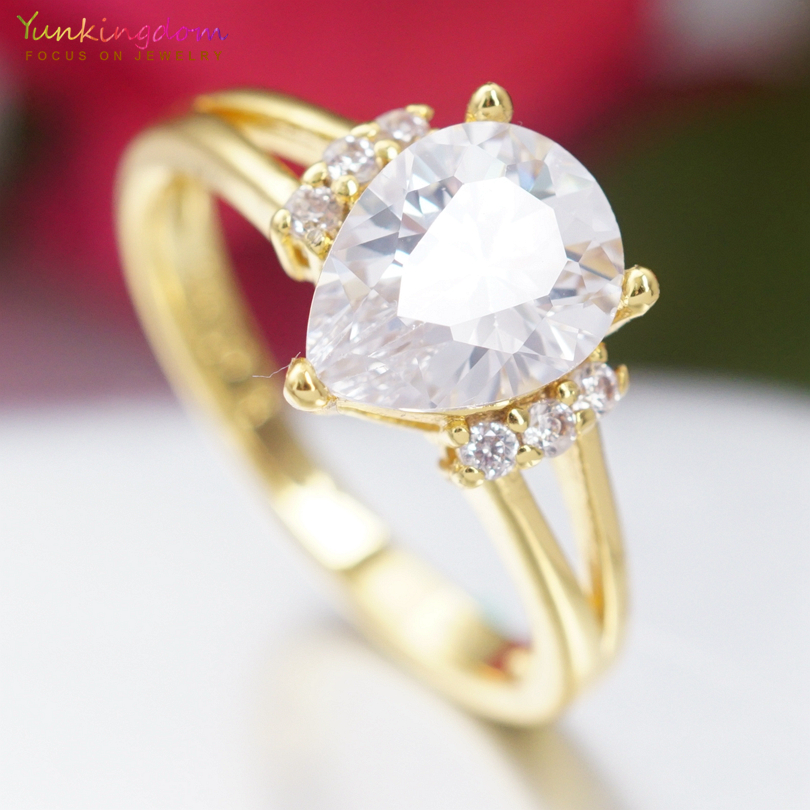 Yunkingdom Classic Water Drop Rings for Women White Cubic Zirconia Wedding Jewelry WholesaleRetail Ring Size 6 7 8 9 K2102