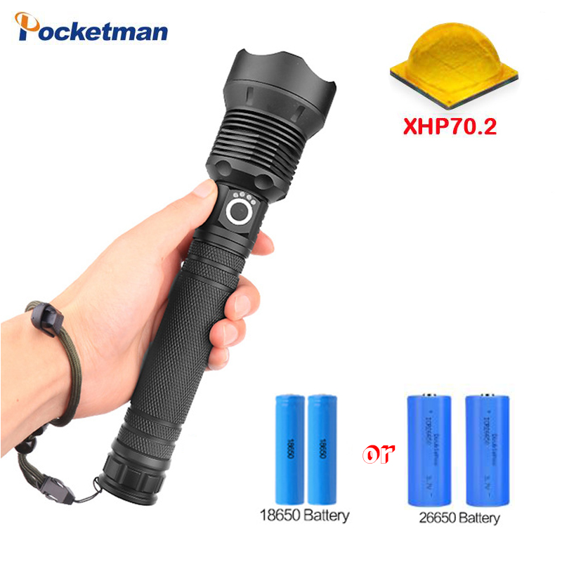 70000LM XHP-70.2 LED most powerful led flashlight Zoomable torch USE 18650 OR 26650 rechargeable battery Torch flashlight
