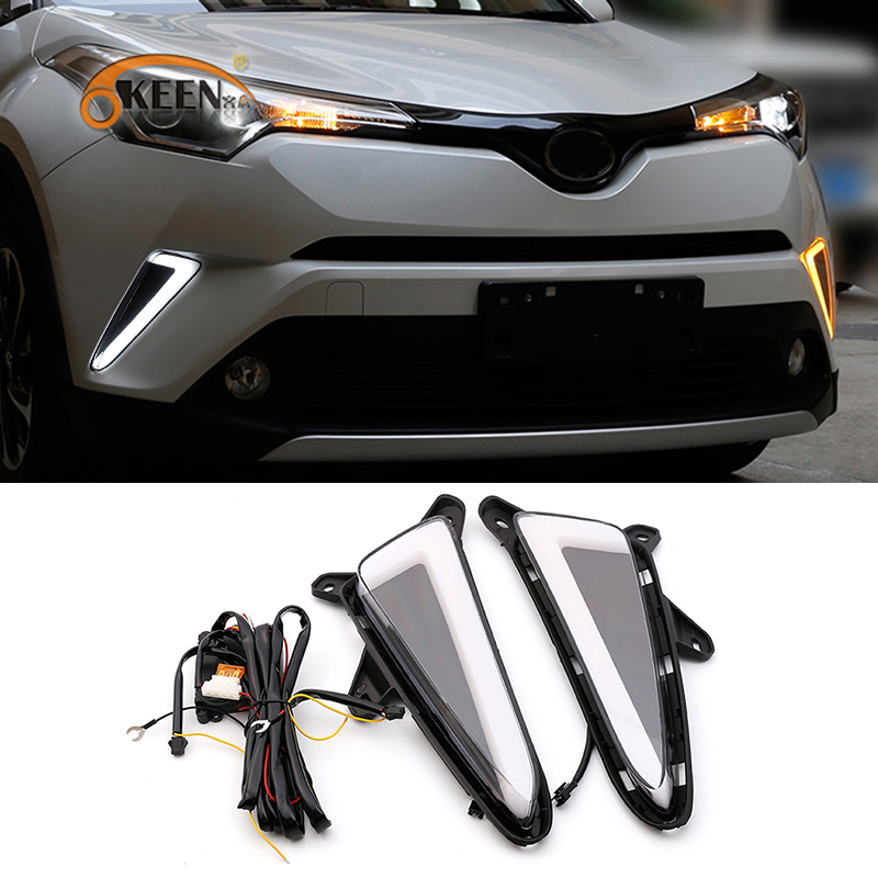 OKEEN 2pcs Car LED DRL for Toyota CHR C HR 2017 2018 Daytime Running Lights White Turn Signal Light Yellow Daylight Fog Lamps