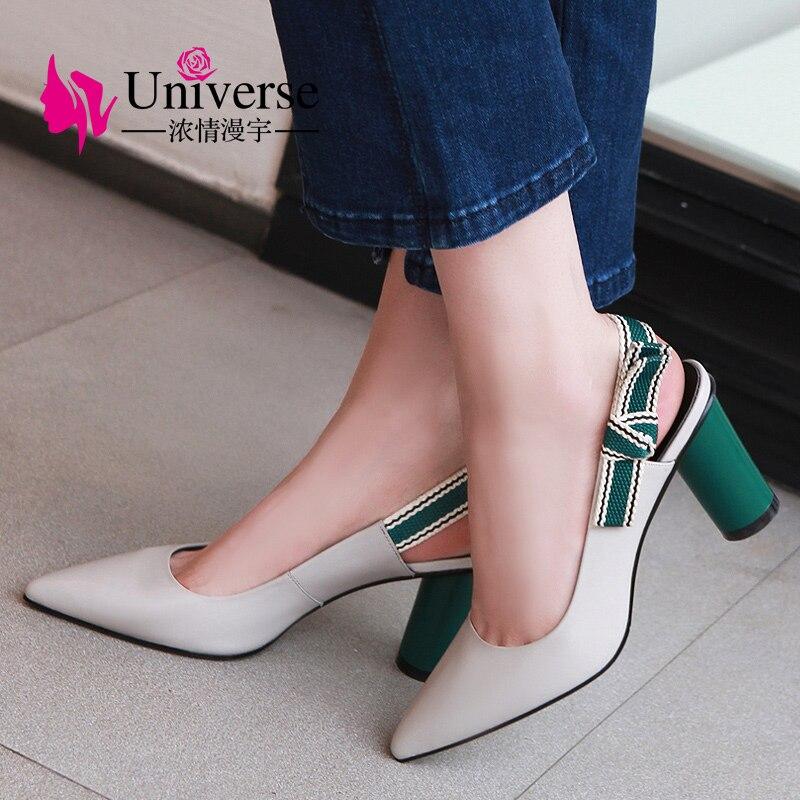Univers loisirs véritable cuir pompes femmes chaussures Slingbacks femmes talons haute qualité papillon-noeud dames pompes 8 cm H134