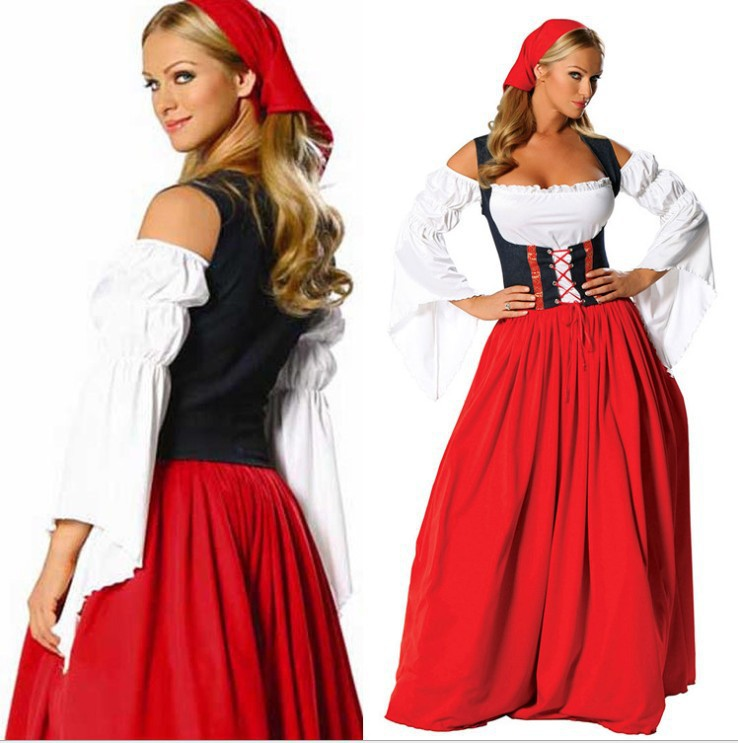 Traditional Ladies Bavarian Oktoberfest Dirndl Costume Womens Medieval Serving Wench Long Dress Beer Party Outfit