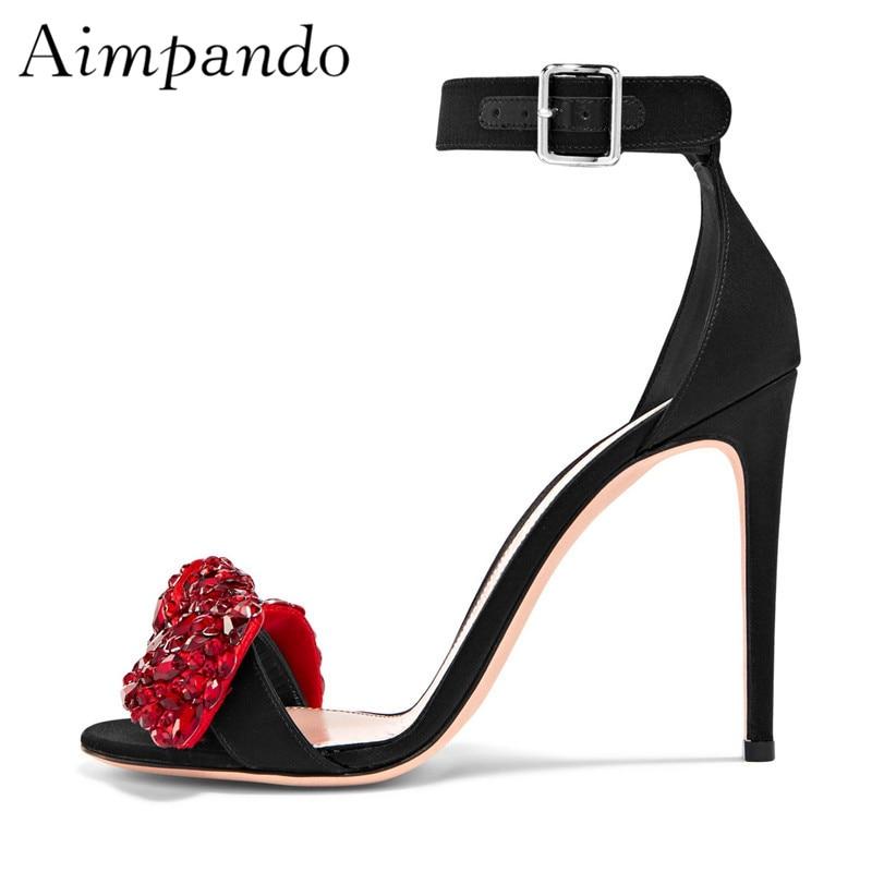Crystal Butterfly knot Gladiator Sandals Women Stiletto Heel Ankle Strap Open Toe Red Rhinestone Summer Sandalias