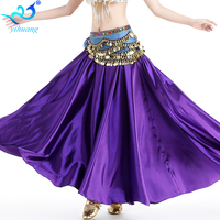Women Belly Dance Costume Long Skirt Satin Bellydance Dancer Bollywood Carnival Outfits Dress Half Halloween Perform