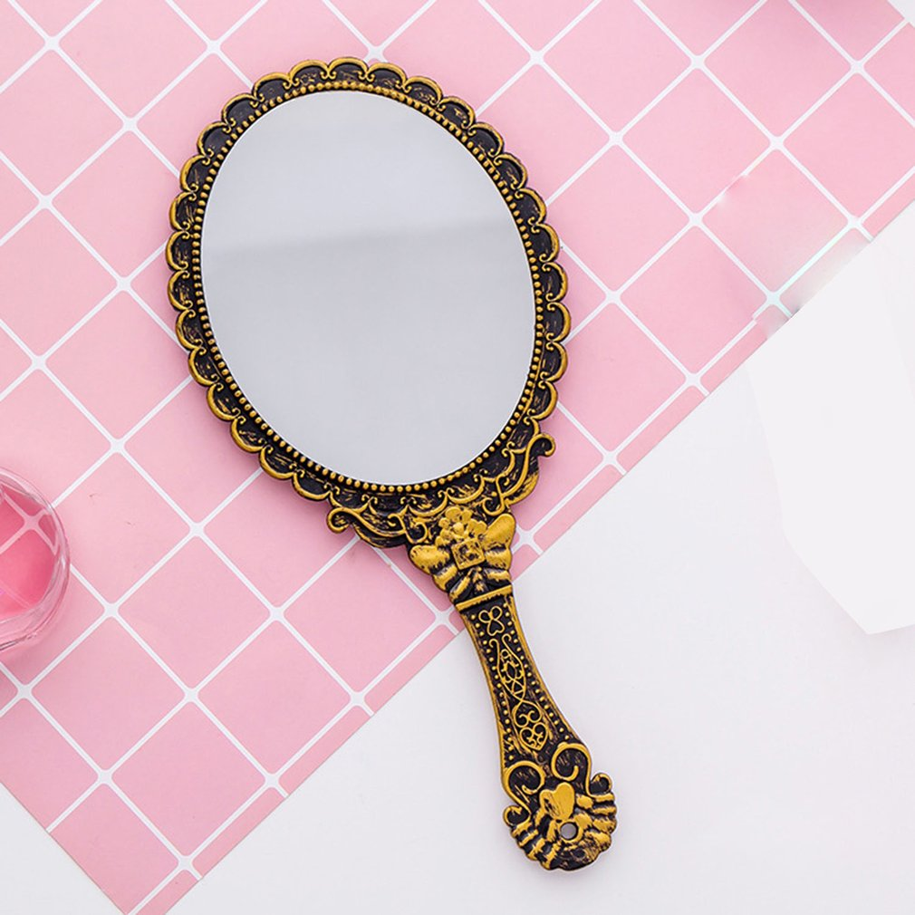 Vintage Handhold Makeup Mirror Pink Repousse Floral Oval Round Cosmetic Hand Held Mirror With Handle For Ladies Beauty Dresser in Makeup Mirrors from Beauty Health