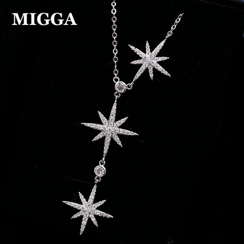 MIGGA Luxury Cubic Zirconia Crystal Star Pendant Necklace for Women White Gold Color Party Jewelry