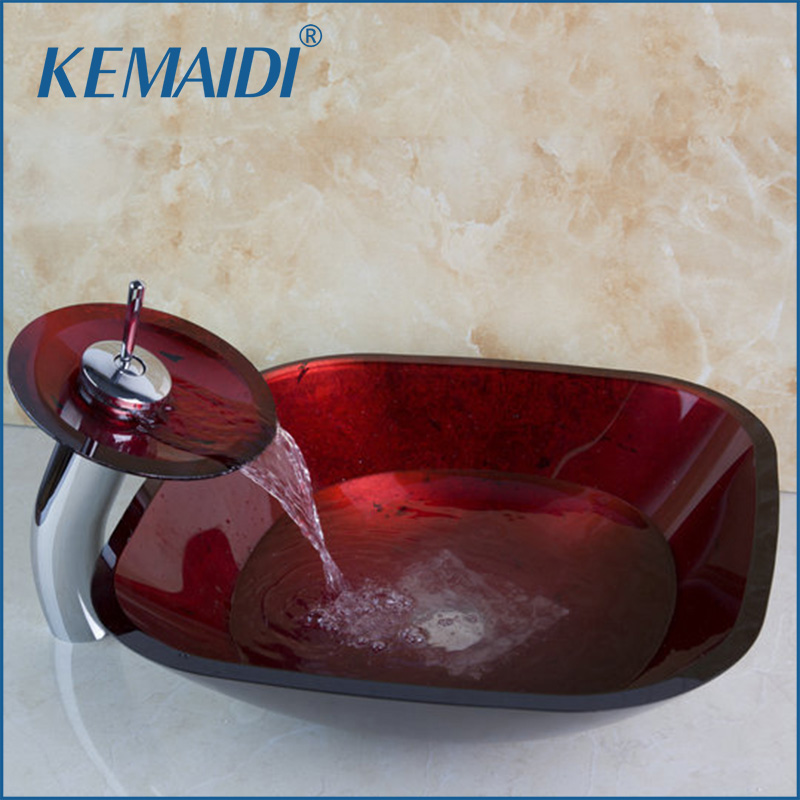 KEMAIDI Bathroom Art  Round Washbasin Red Tempered Glass Vessel Sink With Waterfall Chrome Faucet Set With Pop Up Drain