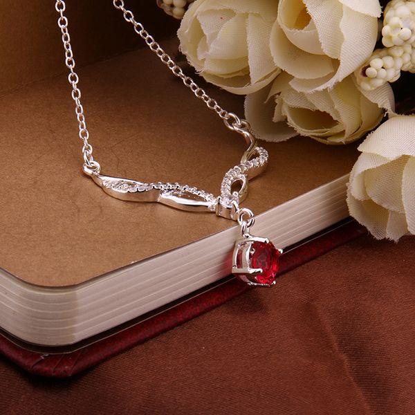 TN13 para kim rojo zrion forma redonda forma las mujeres 925 joyas de plata collar del amante 45 cm cadena envíe con bolsa caliente venta del producto