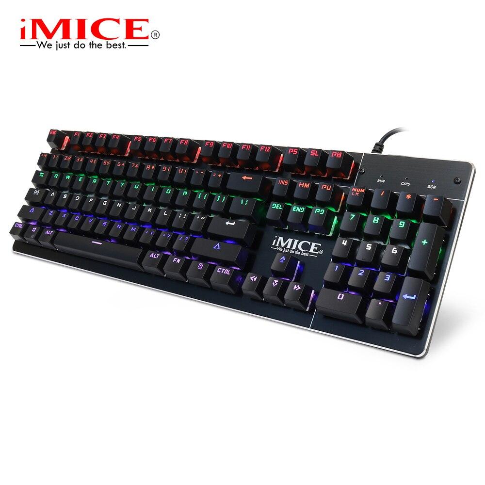 IMice clavier mécanique Rétro-Éclairage Filaire Gaming Claviers Bleu Commutateur 104 Touches Blacklit clavier de gamer jeu d'ordinateur Claviers