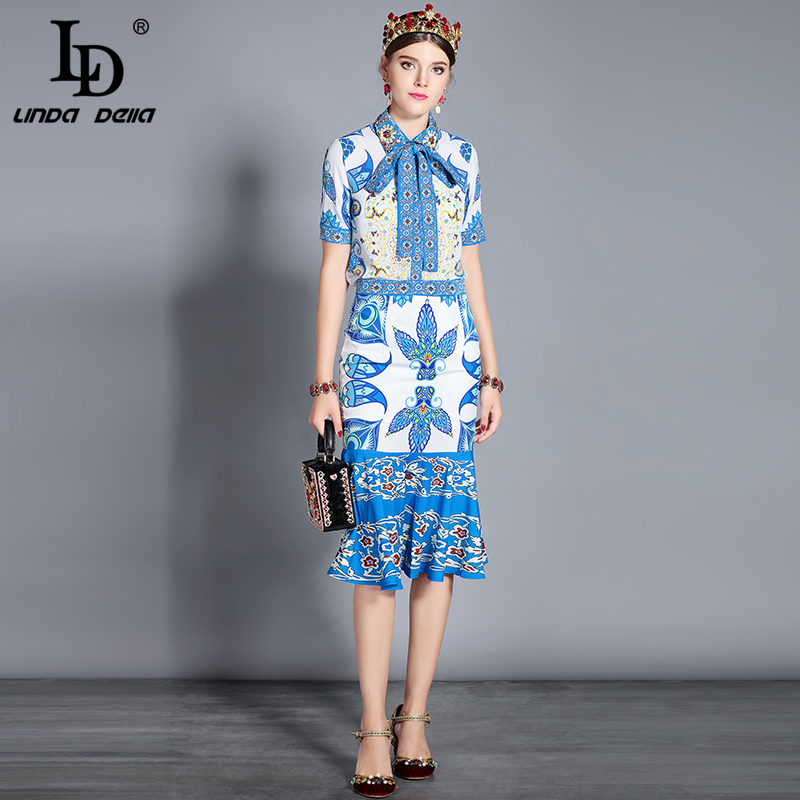LD LINDA DELLA Summer Fashion Runway Skirt Two Piece Set Women 39 s Bow Collar Blouses Casual Floral Print Sexy Skirt Set Suit in Women 39 s Sets from Women 39 s Clothing
