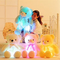 50cm Creative Light Up LED Inductive Stuffed Animals Plush Toy Colorful Glowing Teddy Bear Christmas Gift