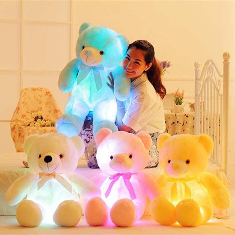 50cm Creative Light Up LED Inductive Stuffed Animals Plush Toy Colorful Glowing Teddy Bear Christmas Gift for Kids