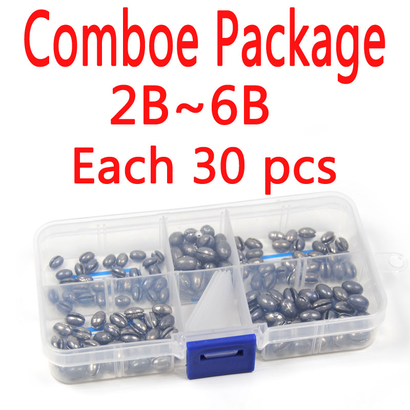 [Comboe Package 2B~6B  Each 30 pcs Total 150 pcs] Solid Oval Split Shot Lead Sinker Fishing Lure Accessories