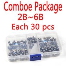 Comboe Package 2B~6B Each 30 pcs Total 150 pcs Solid Oval Split Shot Lead Sinker Fishing Lure Accessories
