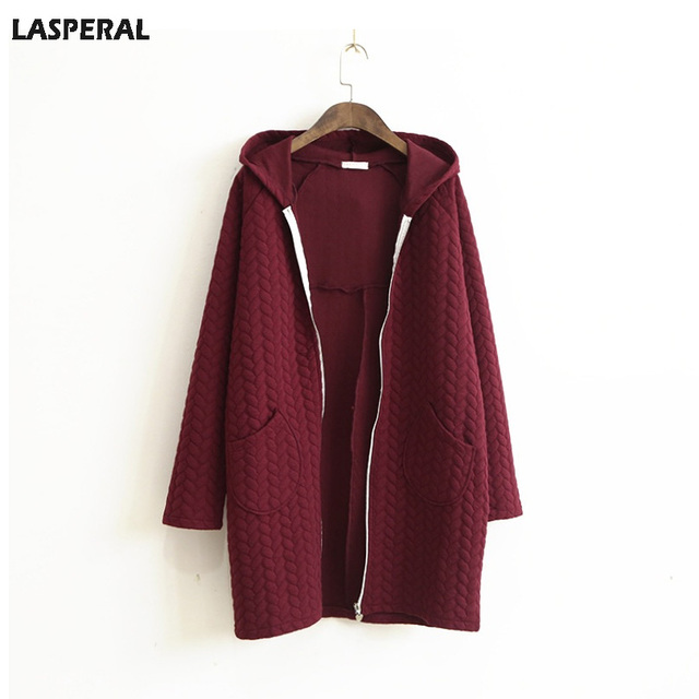 LASPERAL Autumn Hooded Cotton Trench Coat Women Long Sleeve Zipper Pocket Hoode Red Black Windbreaker Women