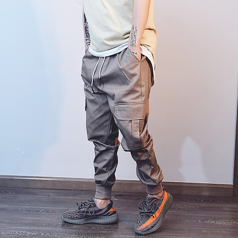 spring summer Long Pants Men Casual Side pocket Sweatpants Baggy Fashion Jogger streetwear swag hip hop Solid Cotton Trousers