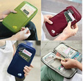 7 colours fashion Travel set nylon man brand ID passport holder credit card organizer bag women long travel wallet