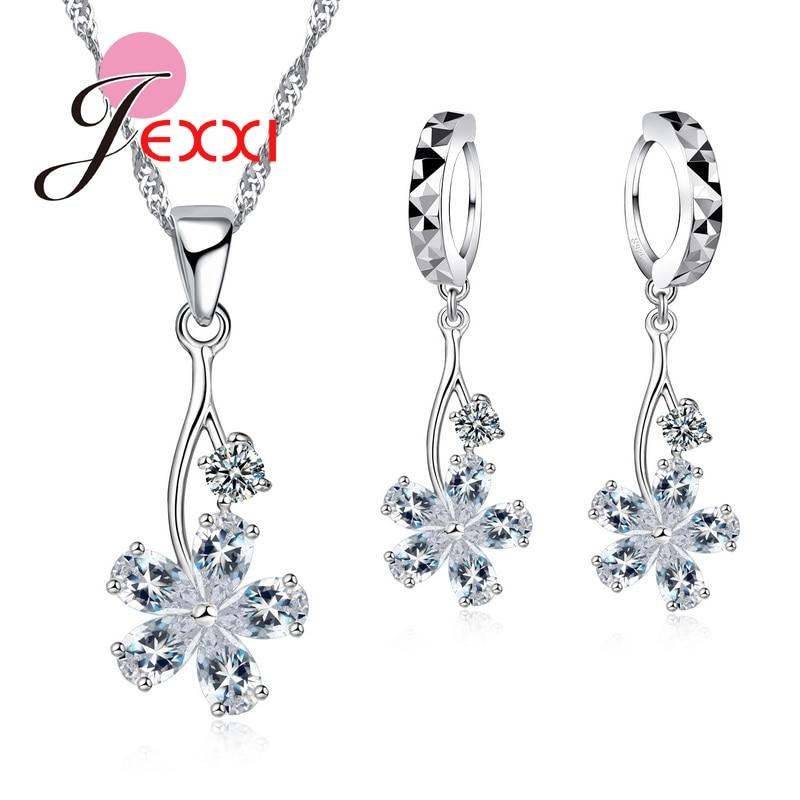 Jemmin Exquisite Crystalafrican Kristall Baum Kragen Halskette Blume Ohrringe 925 Sterling Silber Hochzeit Schmuck-set So Effektiv Wie Eine Fee