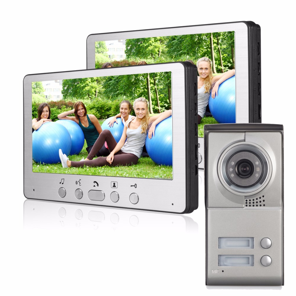 7 Inch LCD Display Video Doorbell Night Vision Rainproof Entry System Home Security Camera Video Door Intercoms For 3 Apartment 7 inch video doorbell tft lcd hd screen wired video doorphone for villa one monitor with one metal outdoor unit night vision