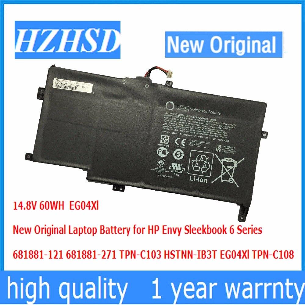 14.8 В 60wh новый оригинальный eg04xl ноутбука Батарея для HP ENVY SLEEKBOOK 6 681881-121 681881-271 tpn-c103 hstnn-ib3t eg04xl tpn-c108