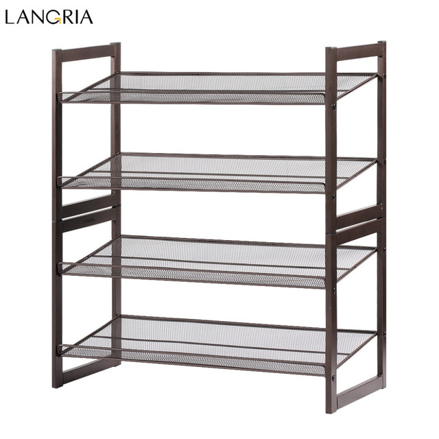 LANGRIA Portable Excellent Quality Luxury Aluminum 4 Tier Shoe Tower Rack Stand Space Saving Organiser