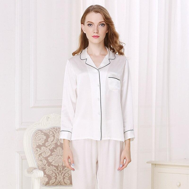 CEARPION Herbst Winter Neue Seide Dicke Frauen Pyjamas Anzug Elegante Casual Täglichen 2 stücke Hemd + hose Nachtwäsche Langarm nacht Tragen - 3