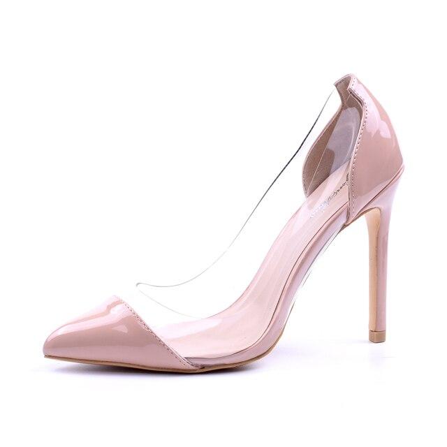 GENSHUO Women Pumps Transparent Thin High Heels 4