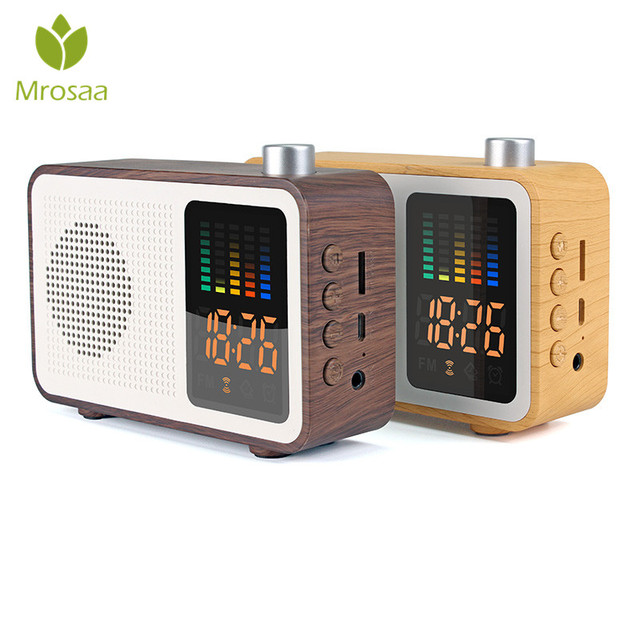 Mrosaa Digital Bluetooth Speaker Alarm Clock FM Radio Support AUX TF Card 3 in 1 Rechargeable Table clocks Modern design