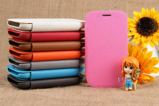 UME Twill Cell Phone Leather Case Wallet Card Stand For Samsung Galaxy S3 mini i8190 n2570