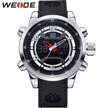 WEIDE Mens Quartz Full Steel Army Diver Watches Men Military Sports Watch Silicone Strap Luxury Brand LCD Back Light Wristwatch