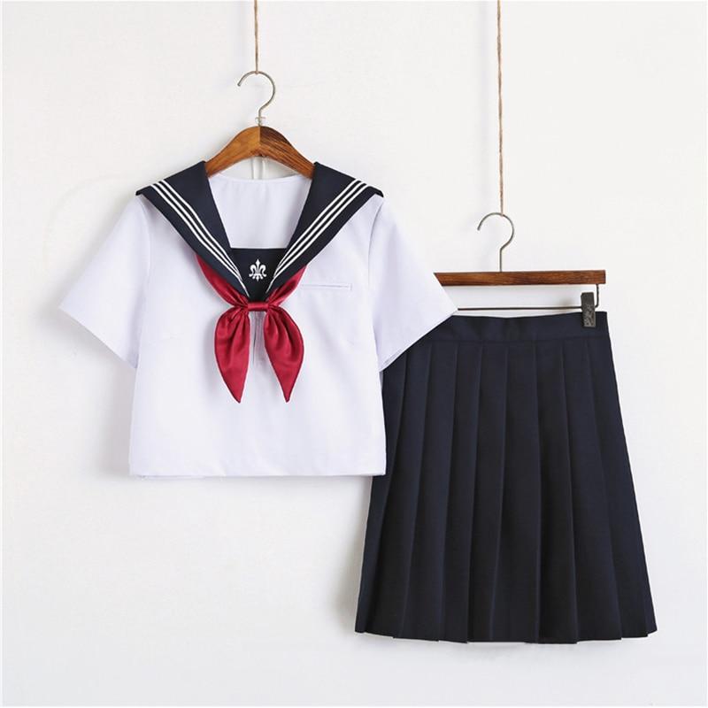 Trident Embroidery Japanese School Uniform Skirt JK Uniform White Sailor Top+Skirt+Tie Suit College Female Students Uniforms