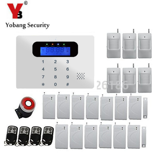 YobangSecurity Wireless Wired GSM Alarm System Touch keypad Display Security System Pir Motion Smoke Detector Door Window Sensor 1set home security protection gsm sms wireless alarm system pir motion detector smoke alarm magnet door sensor wireless siren