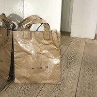 Vintage CDG Kraft Paper Shopping Bag PVC Clear Double Transparent Bag Waterproof Causal Tote Shoulder Bag