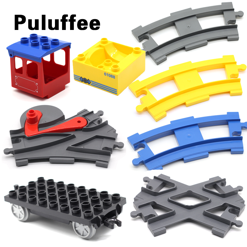 Carriage Trailer Vehicle Set Car Bricks Rail Big Particles Building Blocks Track Accessory DIY Toys Compatible with Duplo Gifts cute sunlight toys for boys girls vehicle multi track rail car