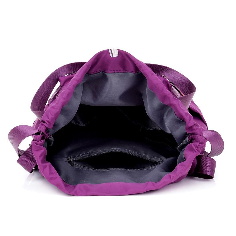 Image 5 - Women Nylon Backpacks Fashion Ladies Casual Drawstring Rucksack Multifunction Shoulder Bag Teenager Girls Travel SchoolbagBackpacks   -