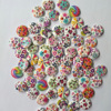 50Pcs 2 Holes Wood Buttons Craft Handmake Scrapbooking Sewing Clothing Accessories 15mm Buttons Flower Painted Sewing Crafts