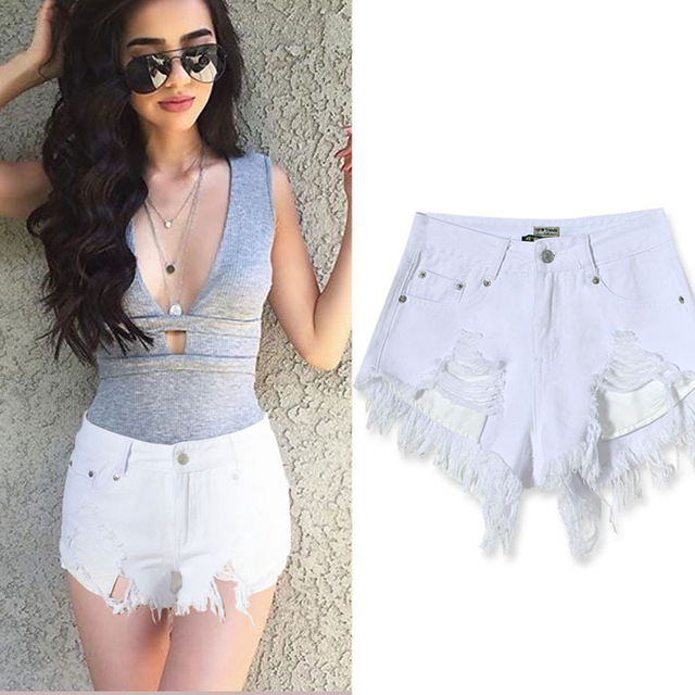 Aliexpress.com : Buy Olrain Women Sexy White High Waist Ripped ...