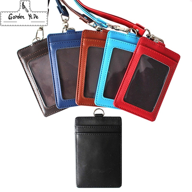 purchase cheap 93aa5 8056d US $8.98 |Genuine Leather Lanyard ID Card holder Business Card Case Holders  Portable String Fashion Bus Identity Badge Porte Carte Credit-in Card & ID  ...
