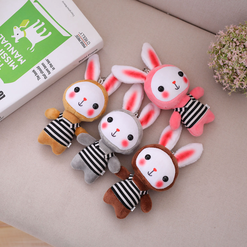 1PC Kawaii New 4 Colors , 12CM Rabbit Stuffed Toy Pendant , Rabbit Keychain Gift Plush Toy Doll , Kid'S Party Birthday Plush Toy