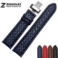 New personality Weave leather strap 20mm 22mm watchband strap black|red|brown|bule Stainless Steel butterfly buckle accessories