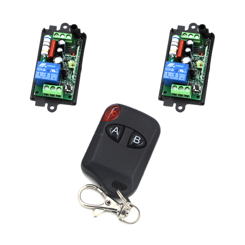 High Quality New 220V 110V 10A 1 Channel Wireless Relay Remote Control Switch RF 315MHz 2 Receivers 4198 jd211a1n5 top rating 5 channel switch rf wireless remote control light switch five digital receivers 110v and 220v
