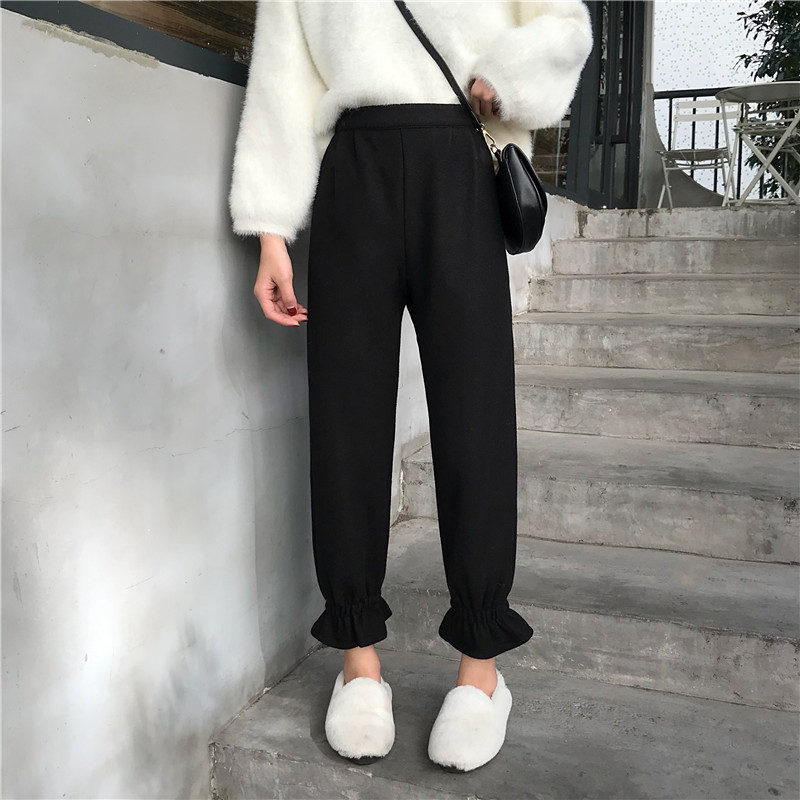 Solid Color Harem   Pants   Women 2018 Winter Plus Size High Waist Casual Streetwear Ruffle Black Cargo   Pants   Women   Capris   Trousers