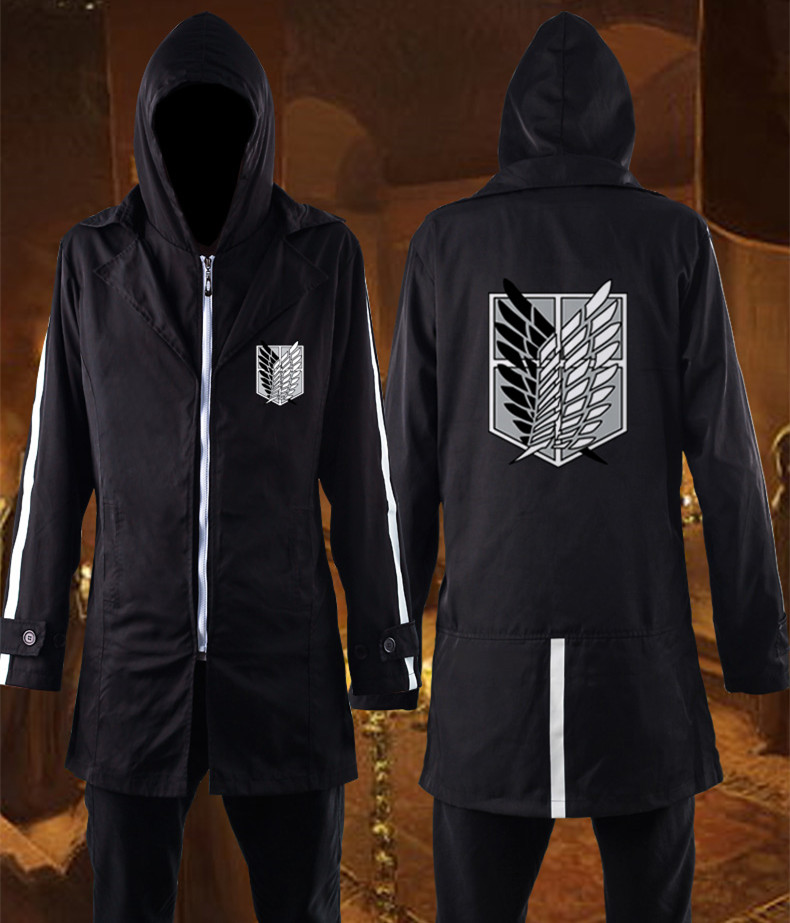 Japanese Anime Attack on Titan Cosplay Costume Shingeki no Kyojin Cosplay Black Trench Unisex Halloween Windbreaker Cloak 010801
