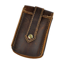New Retro First Layer Genuine Cow Leather Men's Key Wallet Car Key Holder Bag Pack Button Belt+Key Ring(China)