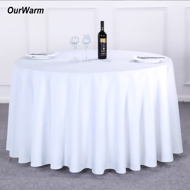 OurWarm 5pcs/set Round Table Cloth 275CM Polyester Solid White Tablecloth  New Year Home Party
