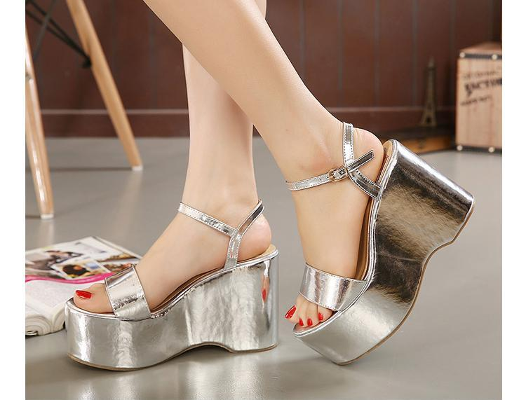 d103737d560 Sexy Metallic Strappy Bling Bling Sandals Wedges Cheap Strappy Ankle High  Heel Wedge Sandals Gold Silver Wedges Platform Sandals-in Women s Sandals  from ...