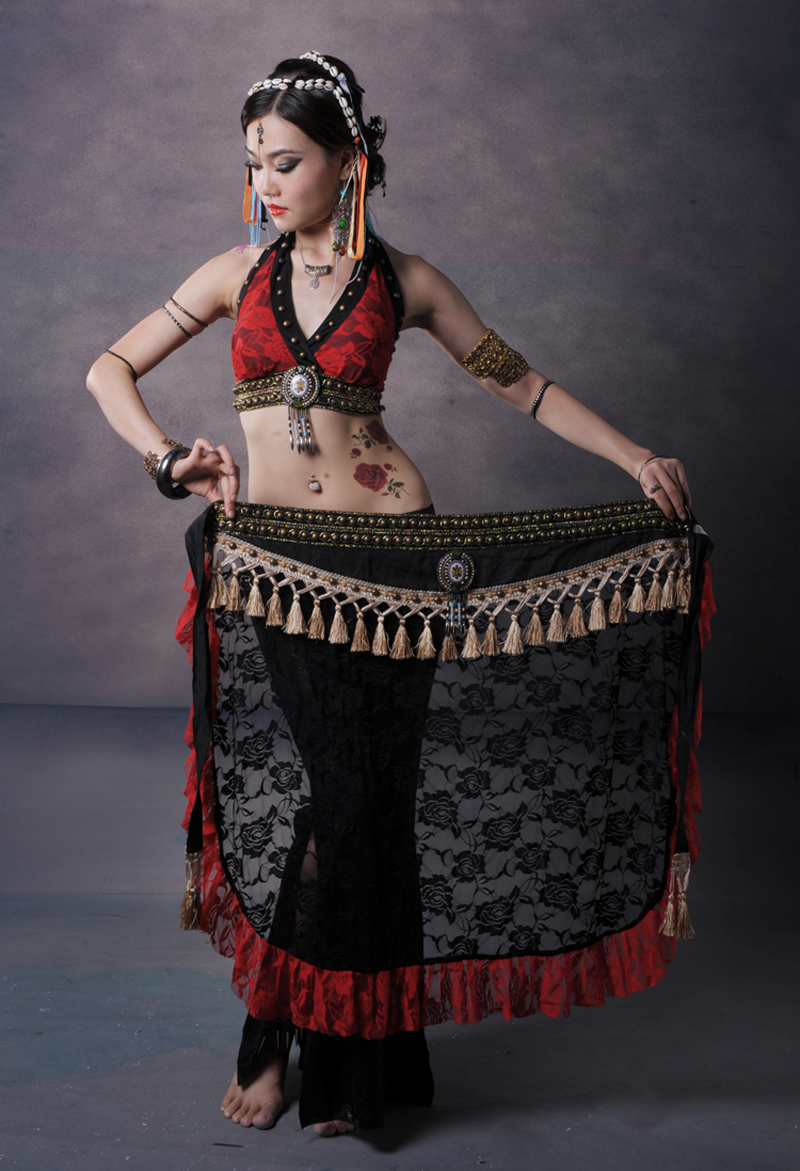 Red Lace Tribal Belly Dance Clothing Plus Size 3 piece ...
