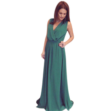 Elegant Fashion Sexy Floor Length Women Party Maxi Dress Solid Color Sleeveless Tied Waist Bandage Boho