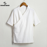 SHANBAO Summer Men S Cotton And Linen Shirt High Quality Brand Retro Chinese Style Solid Color