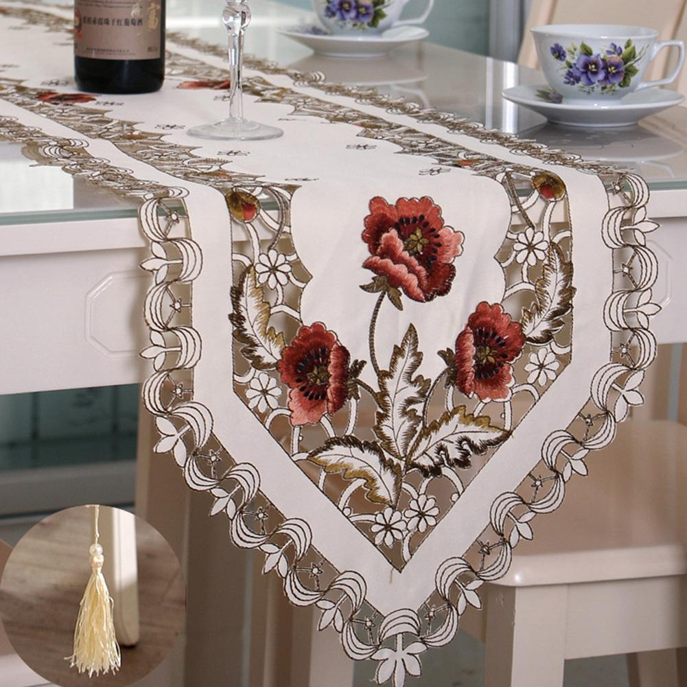 Adeeing Vintage Table Runner Embroidered Floral Lace Table Cloth Home Party Wedding Decoration