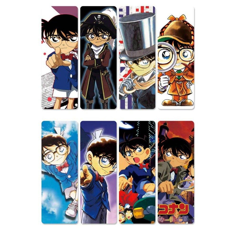 8pcs Anime Detective Conan Bookmarks Transparent PVC Plastic Bookmark Colorful Kids Gift Bookmakers